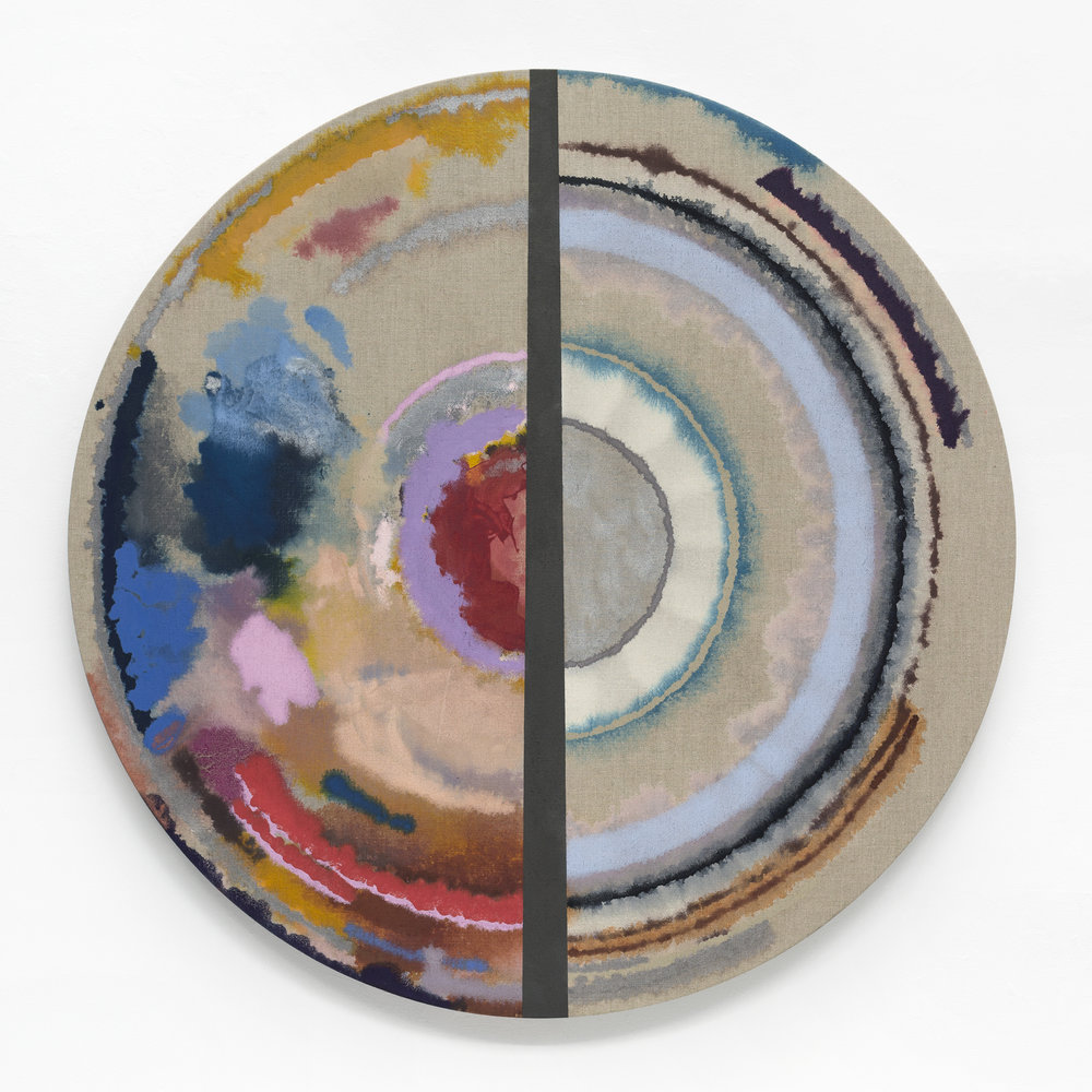 "PAMELA JORDEN Cut Target, 2018 Oil on linen, 52"" diameter"