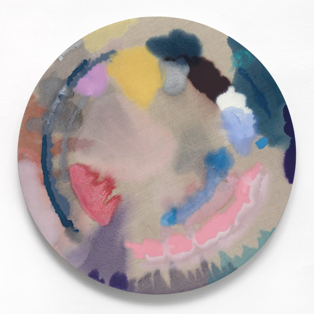 "PAMELA JORDEN Pink Lake, 2018 Oil on linen, 48"" diameter"