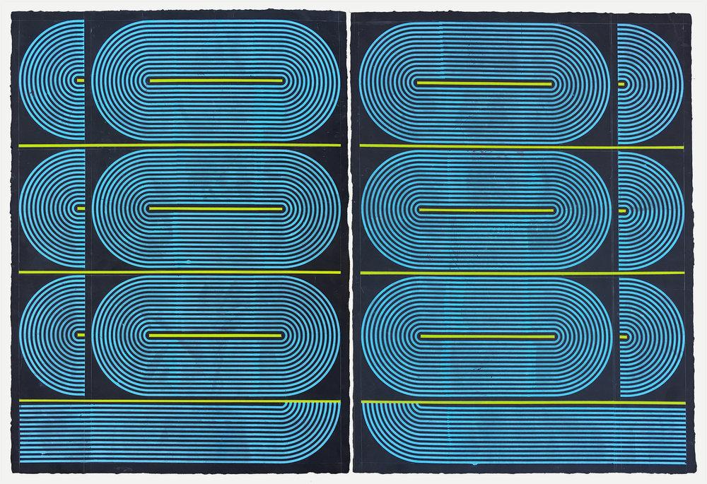 "ELISE FERGUSON Boniculars, 2018 Pigmented plaster on MDF panel, 40"" x 60"""