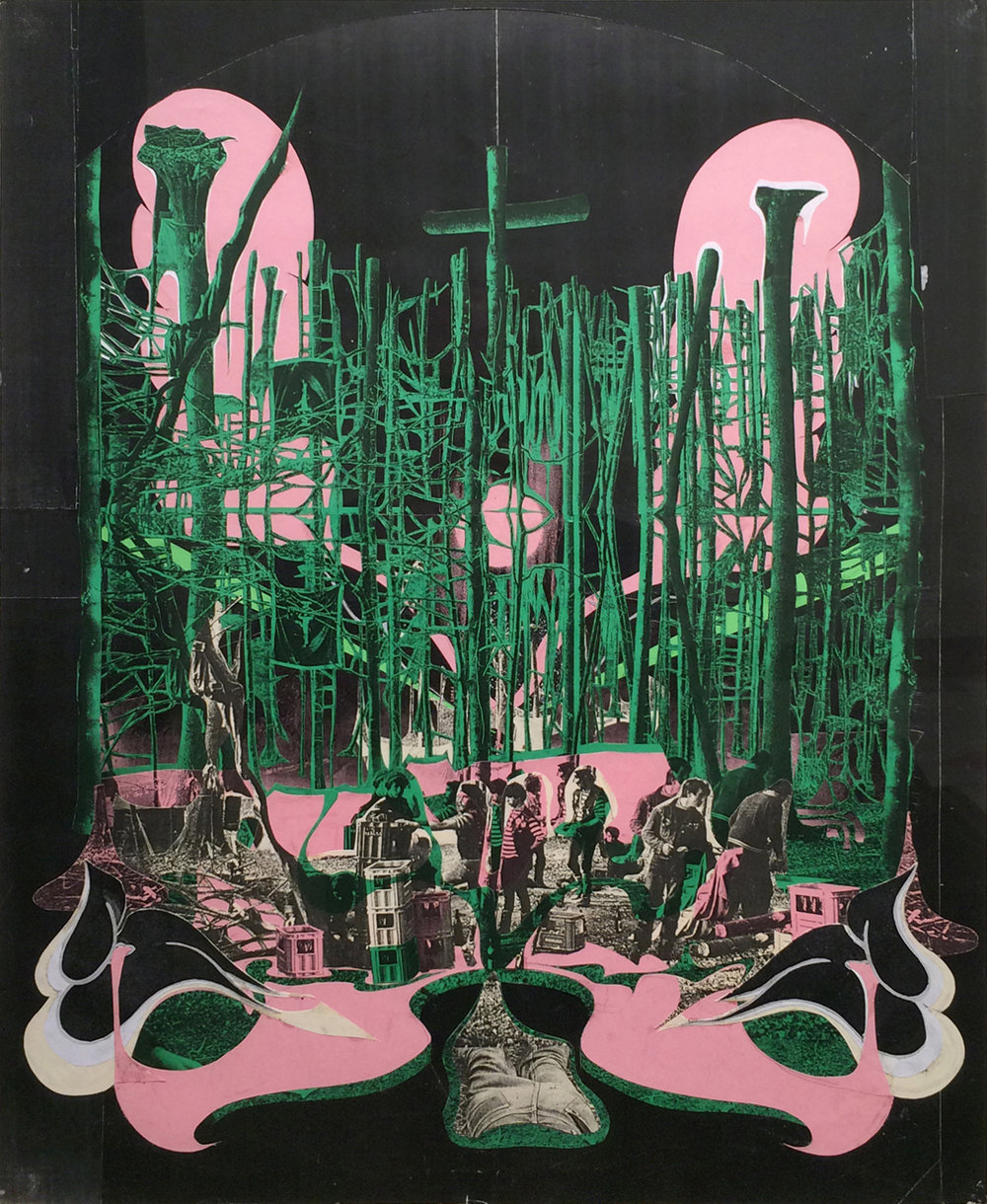 "GWENAËL RATTKE  Wald , 2008 collage on paper, 22.5"" x 18"""