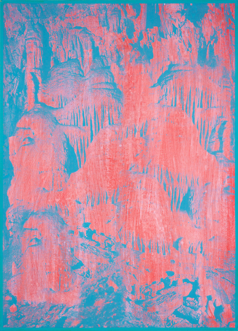 "GWENAËL RATTKE  Caves of Lebanon , 2012 acrylic and silkscreen with hand working on museum board, 27.5"" x 19.75"""