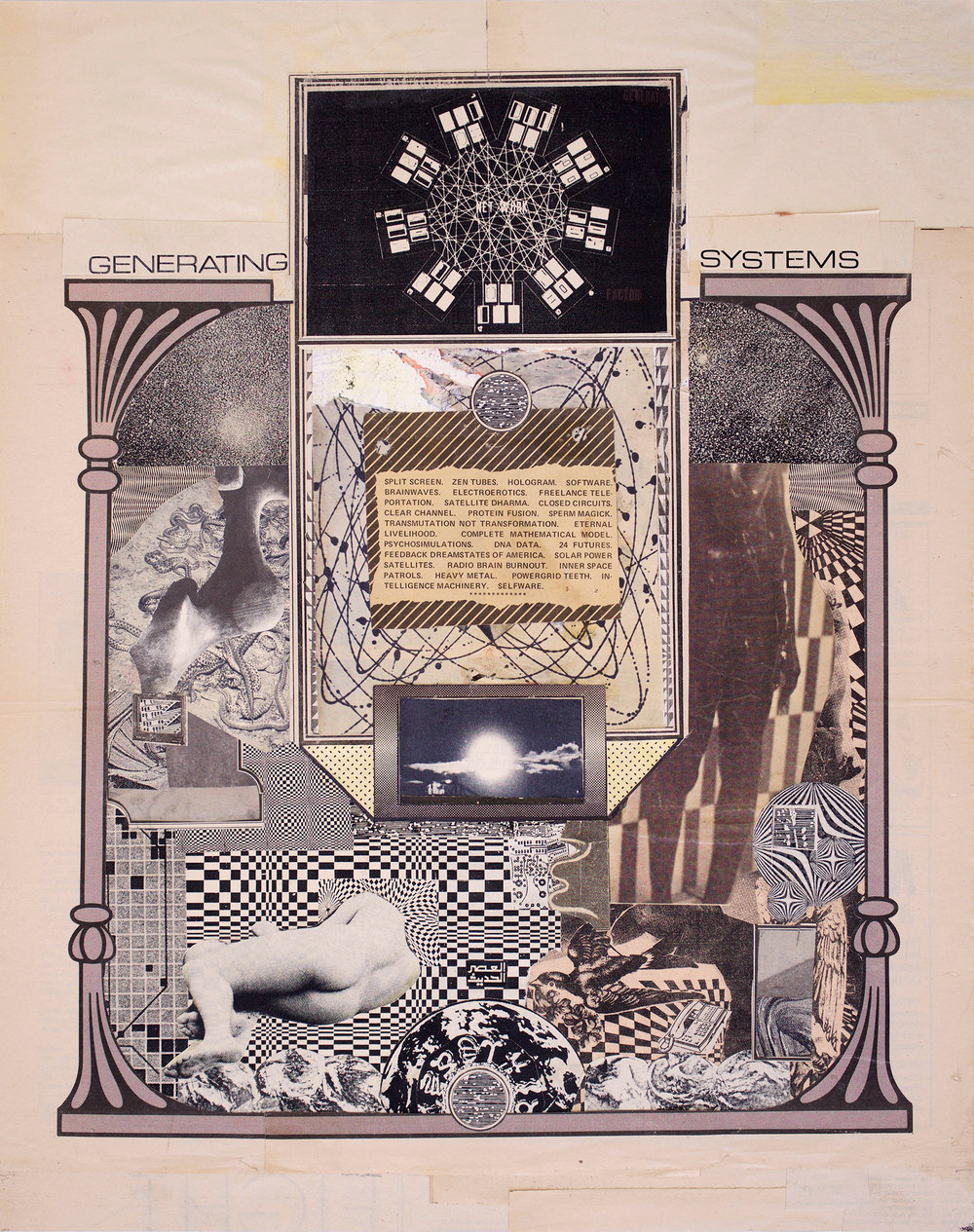 "GWENAËL RATTKE  Generating Systems , 2014 collage on board, 19.5"" x 15.75"""