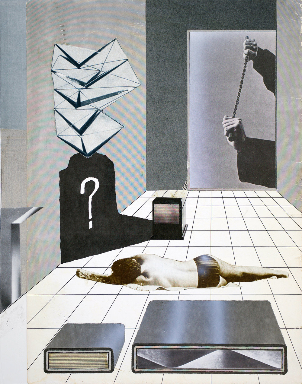 "GWENAËL RATTKE  Modern Interior , 2018 collage on paper, 14"" x 11"""