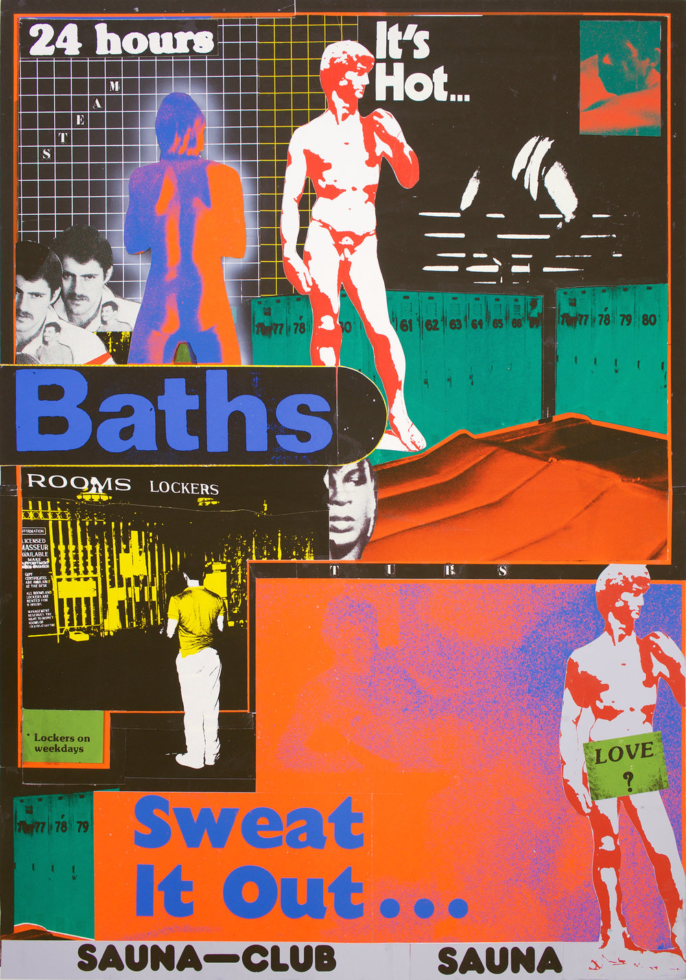 "GWENAËL RATTKE  Tubs , 2018 silkscreen and collage on board, 39.5"" x 27.5"""