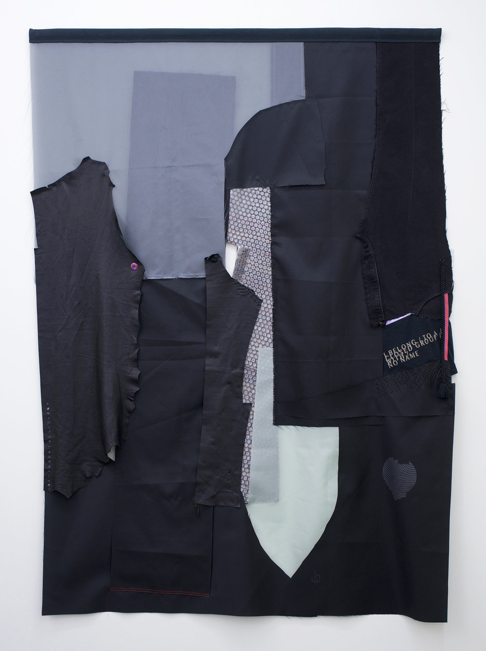 "AMANDA CURRERI I Belong to a Closed Group With No Name*, 2018 Recycled flag nylon, leather, cotton with rice paste resist and soot/soya printing, sequins, thread, inkle weaving, vintage Japanese braid, and canvas with grommets, 72 x 48"" *Title is from a T-shirt in the Samois archive at the GLBT Historical Society."