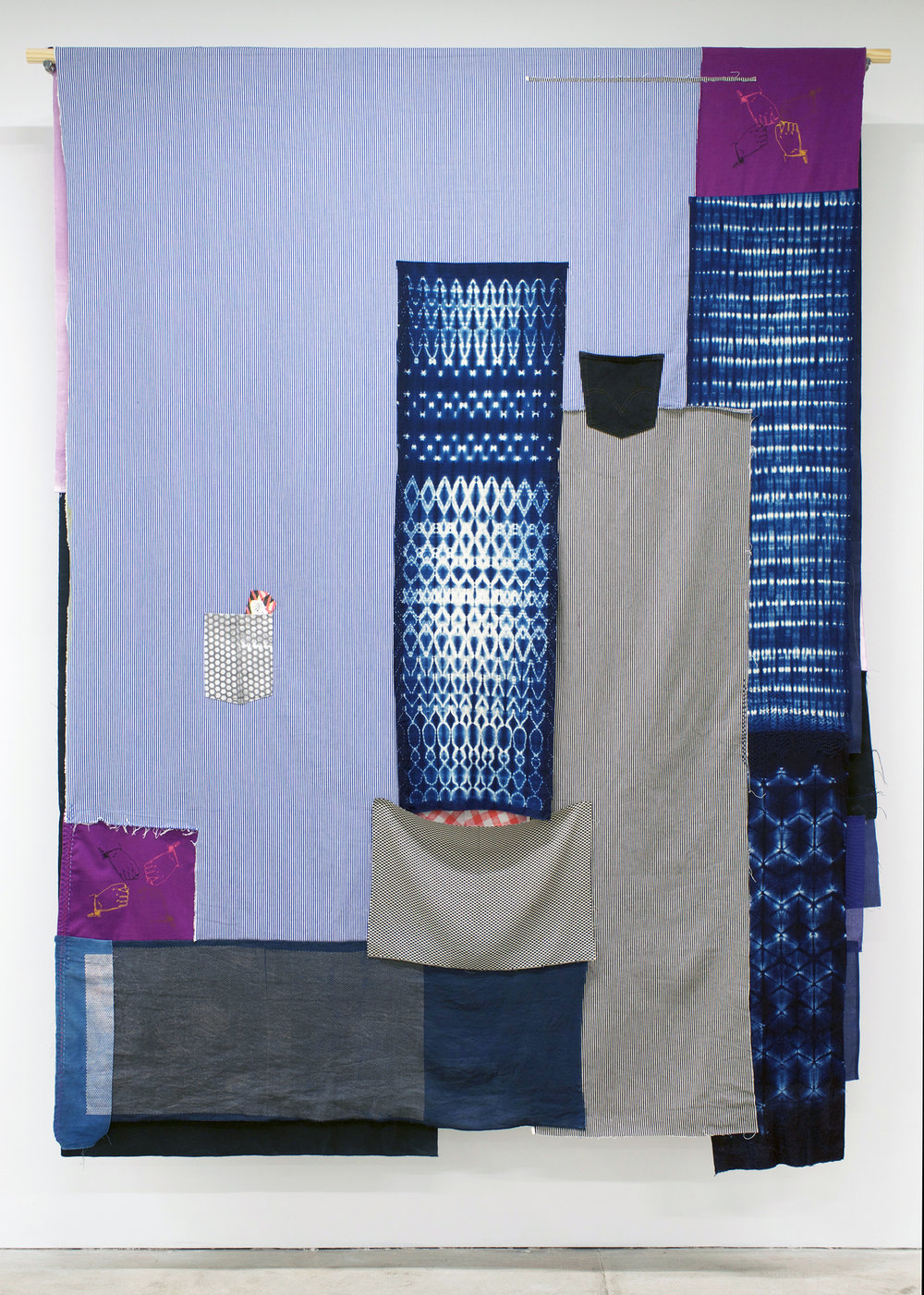 AMANDA CURRERI Gestures (Proteggere, Rubare), 2018 Hand-dyed and hand-printed fabrics with indigo, madder, soot/soya dyes and acrylic on various fabrics such as used tablecloths, vintage Japanese linen, and cotton kimono fabric; vintage Japanese silk, Japanese denim (new), American denim (new), deconstructed denim jeans pocket, screen print on paper, digital print on fabric, recycled American flag cutoffs, and thread, 96 x 72""