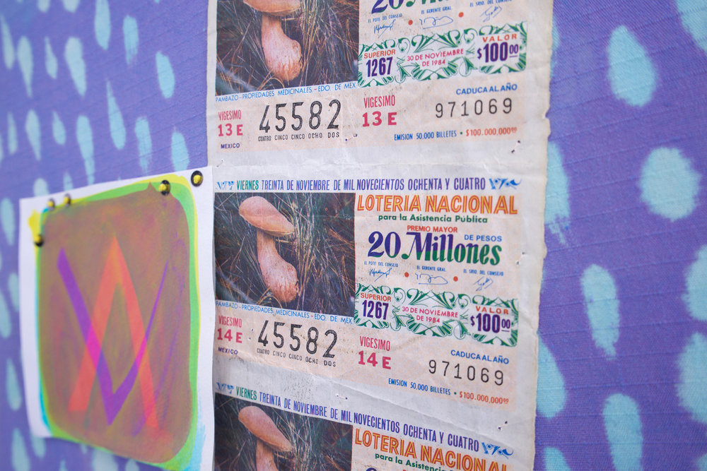 "AMANDA CURRERI (detail) 1984, 2018 Hand-dyed and resist-painted cotton, acrylic on paper, thread, sequins, and found lotto tickets, 12"" x 12"""