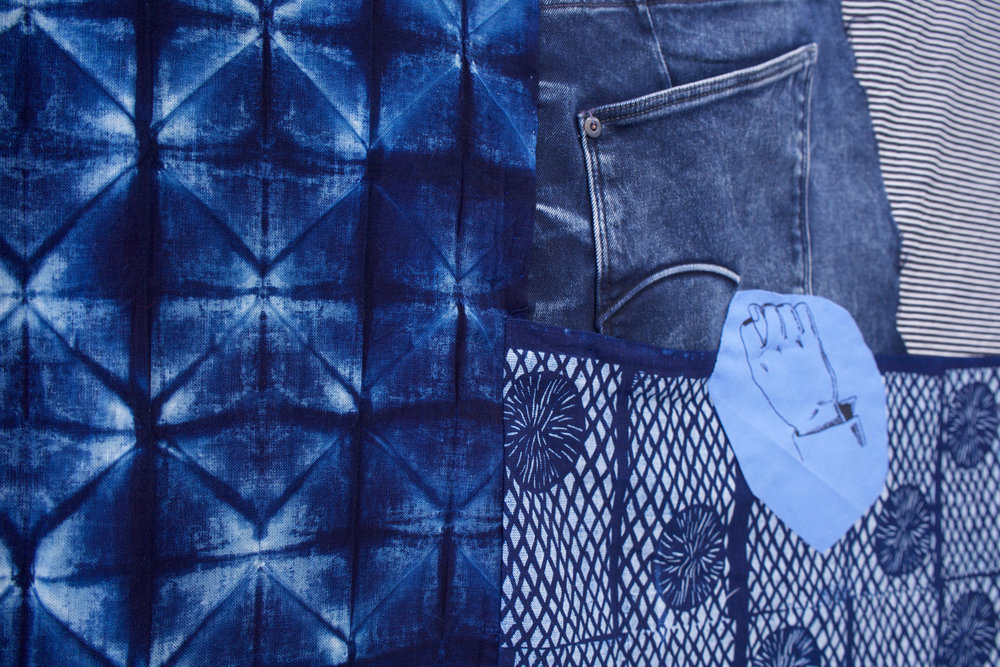 "AMANDA CURRERI (detail) Homo-Hime, 2018 Hand-dyed and hand-printed fabrics with indigo, madder, soot/soya, acrylic on various fabrics such as used tablecloths, vintage Japanese silk, Japanese denim (new), deconstructed denim jeans, dog toy eyes, digital print on fabric (two-sided), 72"" x 48"""