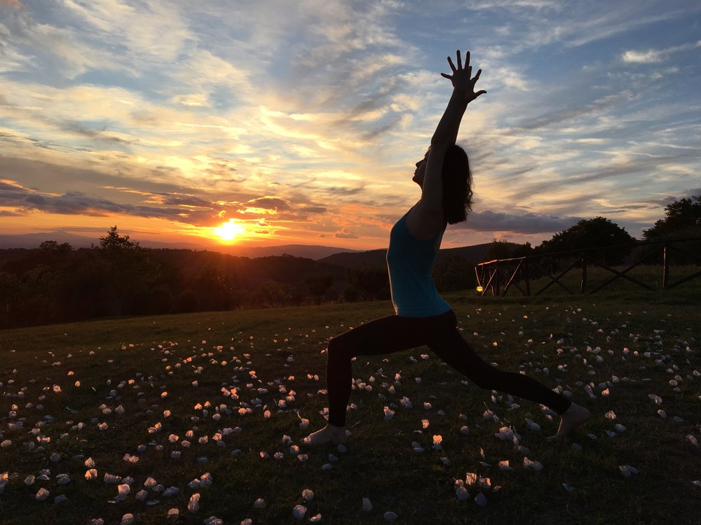 Sunset yoga at our 2017 italy retreat         Photo credit: Norman lesperance