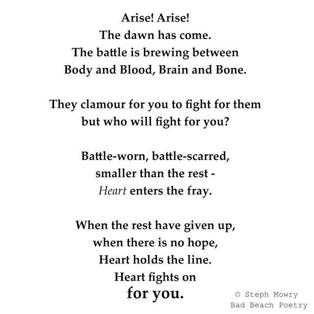 When it counts...❤💙💚💛🧡💜⠀⠀⠀⠀⠀⠀⠀⠀⠀ I picture a little heart coming over a hill brandishing a sword - how about you?⠀⠀⠀⠀⠀⠀⠀⠀⠀ ⠀⠀⠀⠀⠀⠀⠀⠀⠀ #monday #mondaymotivation #heart #digin #whenitcounts #fight #fightforyou #holdthefort #holdtheline #herwordisgold⠀⠀⠀⠀⠀⠀⠀⠀⠀ #poetry #writersofinstagram #lovequotes #instagood #writer #poem #words  #poet #lifequotes #poems #poetsofinstagram #writing #poetrycommunity ⠀⠀⠀⠀⠀⠀⠀⠀⠀ ⠀⠀⠀⠀⠀⠀⠀⠀⠀⠀⠀⠀⠀⠀⠀⠀⠀⠀ #wordswithqueens #illogicalpoemworld #herheartpoetry #artlixirpoetry @artlixirpoetry #runawaywriters #wordhour #poetrytribe @oltmblog @ig_writers @herwordisgold