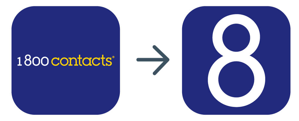 "The old app logo tried to fit the entire 1-800 Contacts logo into the square but it was getting lost in the midst of all surrounding apps once on the screen. The logo was simplified to just the ""8"" in the 1-800 Contacts logo which also resembles a contact lens case."