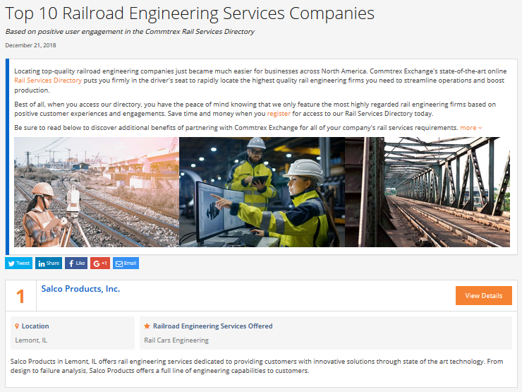 Top 10 Railroad Engineering Services Companies - December 2018