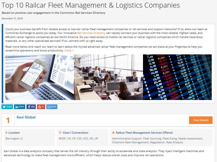 Top 10 Fleet Management & Logistics Companies - December 2018