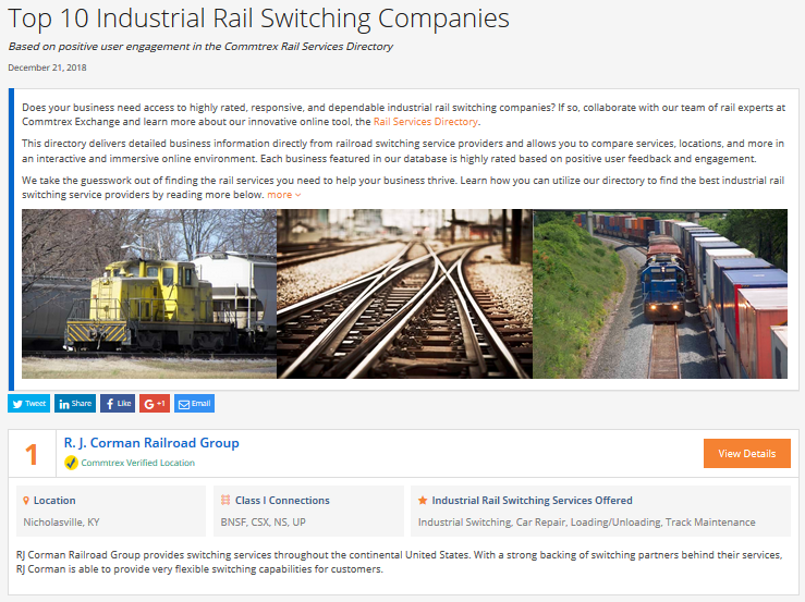 Top 10 Industrial Rail Switching Companies - December 2018