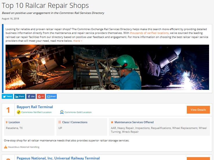 Top 10 Railcar Repair Shops - August 2018