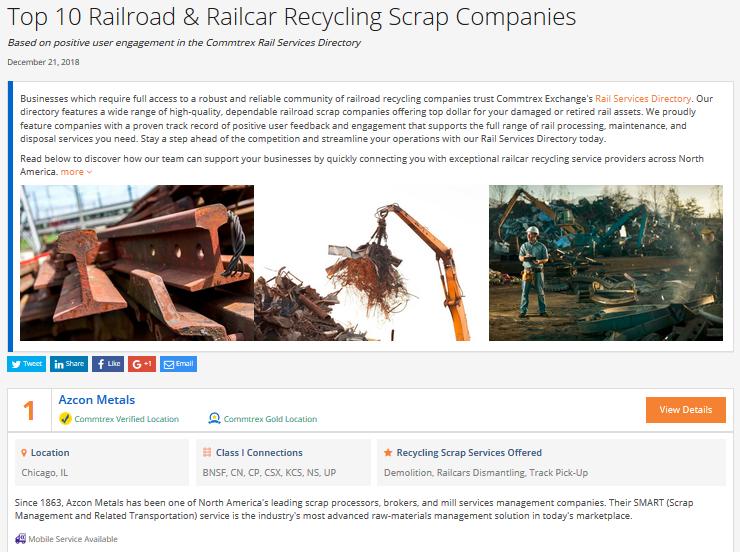 Top 10 Railroad & Railcar Recycling Scrap Companies - December 2018