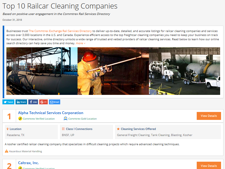 Top 10 Railcar Cleaning Companies - October 2018