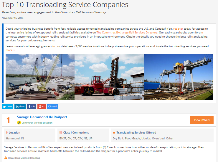 Top 10 Transloading Service Companies - November 2018