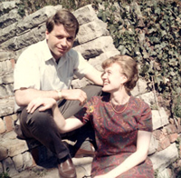 This is Herm and me, taken at my parents' house, sometime between our engagement in March 1967 and our wedding that October.