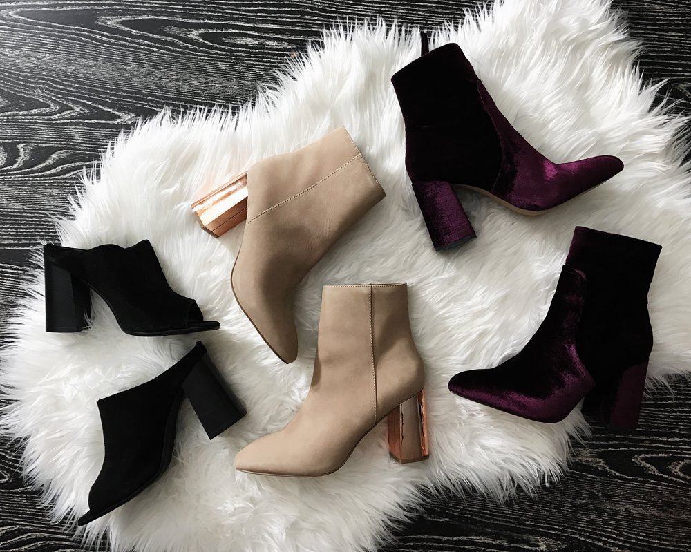 Steve Madden   Black Heels; $24.99    PATINA Booties; $37.50   JAQUE Velvet Booties; $37.50