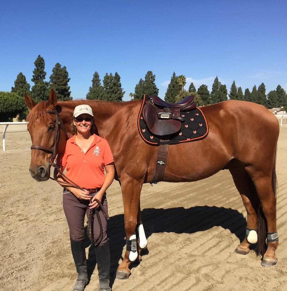 Despite being blind, Derrick is back under saddle!