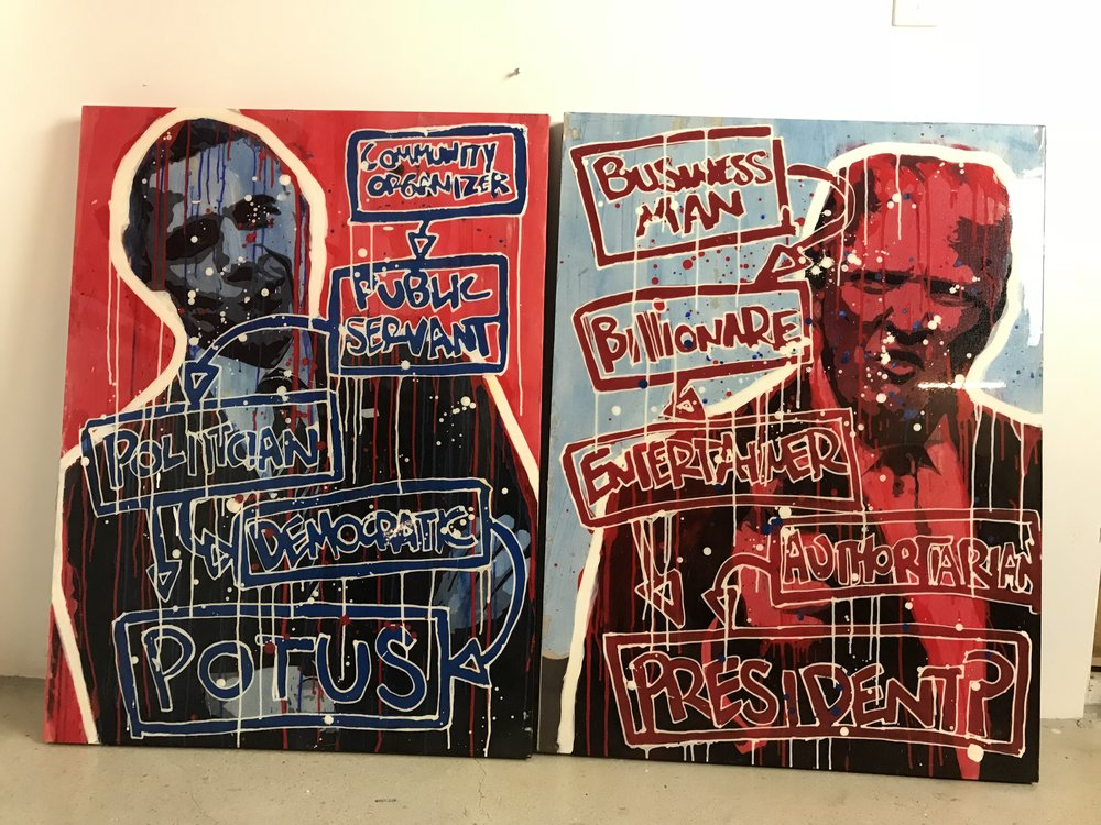 Left v. Right | President Obama & Trump | $8,300 | 2 Piece Set | 30 x 40 + 30 x 40