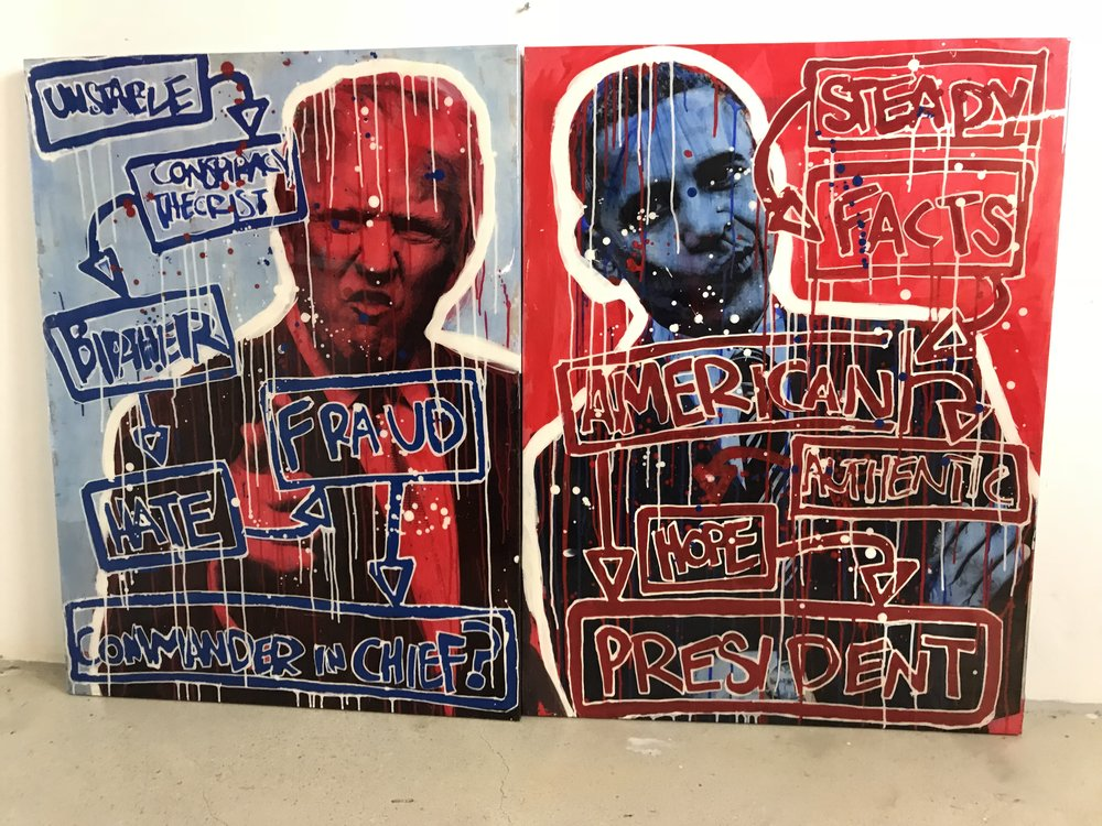 Right v. Left | President Obama & Trump | $8,300 | 2 Piece Set | 30 x 40 + 30 x 40