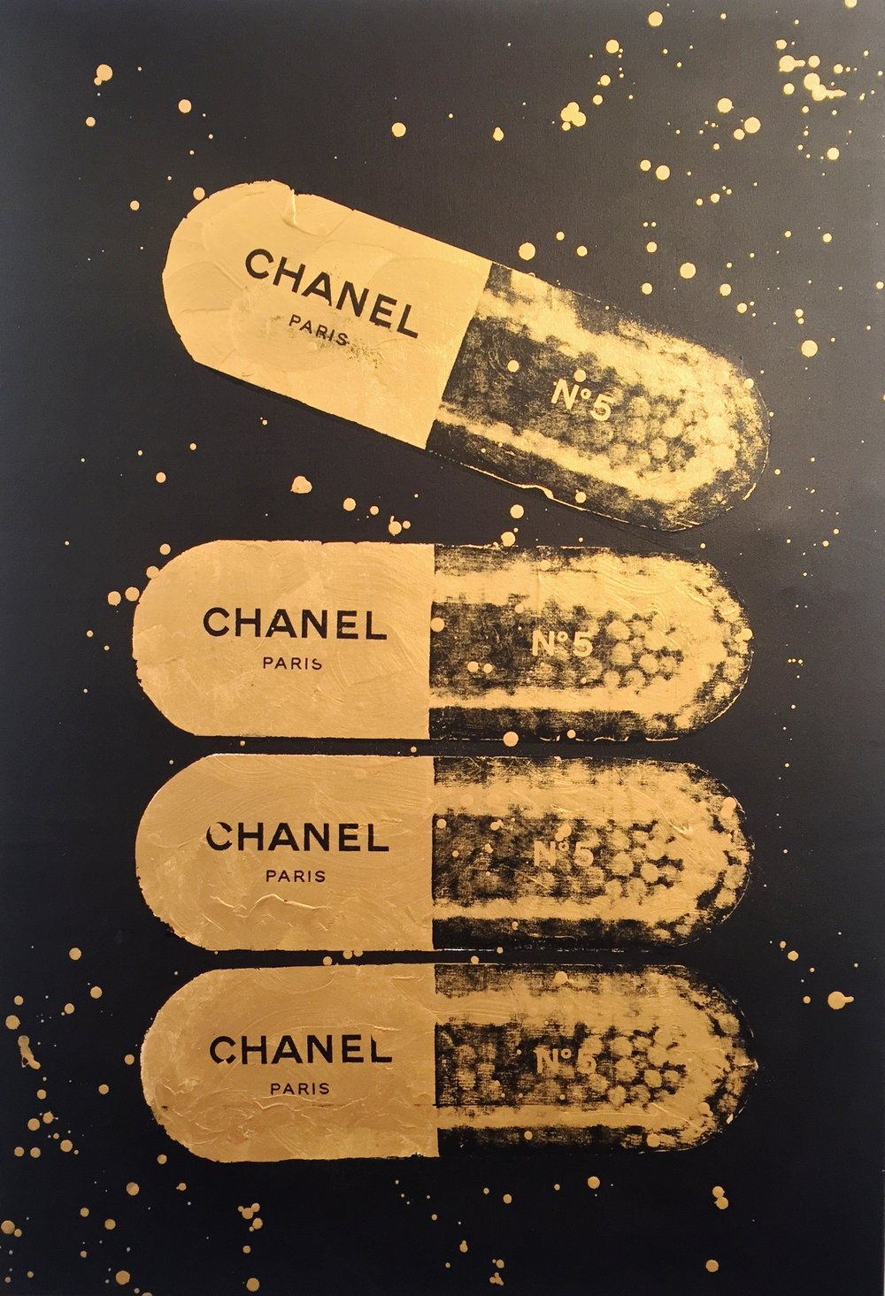 A Golden Chanel a Day - 1/1, 36 x 48 Acrylic on Canvas IMITATE MODERN