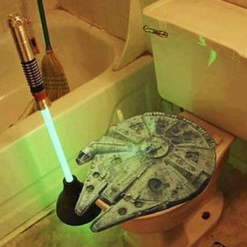 May the Fourth be with you! With this millennium falcon toilet seat and lightsaber plunger. #nerd #starwars #mayfourthbewithyou