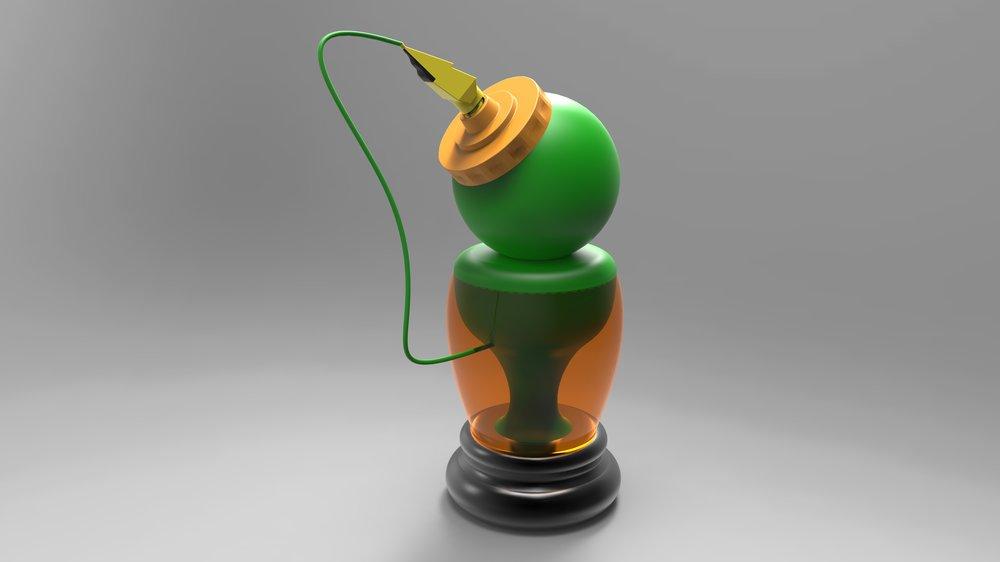Gatorade-inspired Electric Charging Station: Gatorade bottle station (SolidWorks; Keyshot)