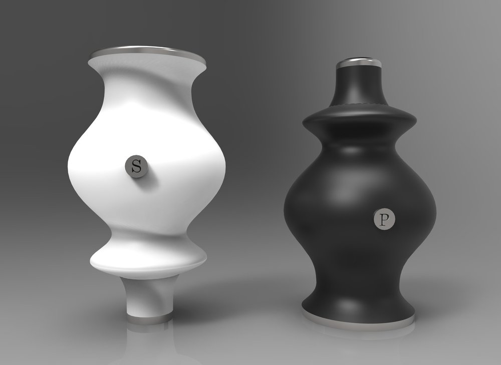 Salt and Pepper Shaker: Inspired by the fashion contrast of early 1900s Bishop and Gigot sleeves (SolidWorks, Keyshot)