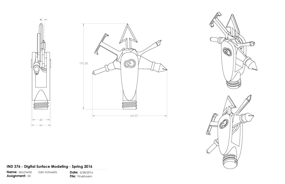 Pocket Knife Interpretation of Adobe Creative Tools:  Tech Drawings for 3D Print (SolidWorks)