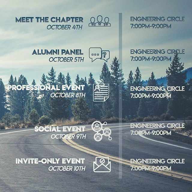 Our Fall Recruitment Event Page is up on Facebook! Come and get to know the brothers of Delta Sigma Pi! We also have keynote speakers from various notable companies coming to our Professional Event hosted by our very own @ttwsam! • If you have any inquiries, please message on Facebook, Instagram, or on our website (link in bio)! If you need any accommodation to getting to these events, let us know as well! We hope to see you there!