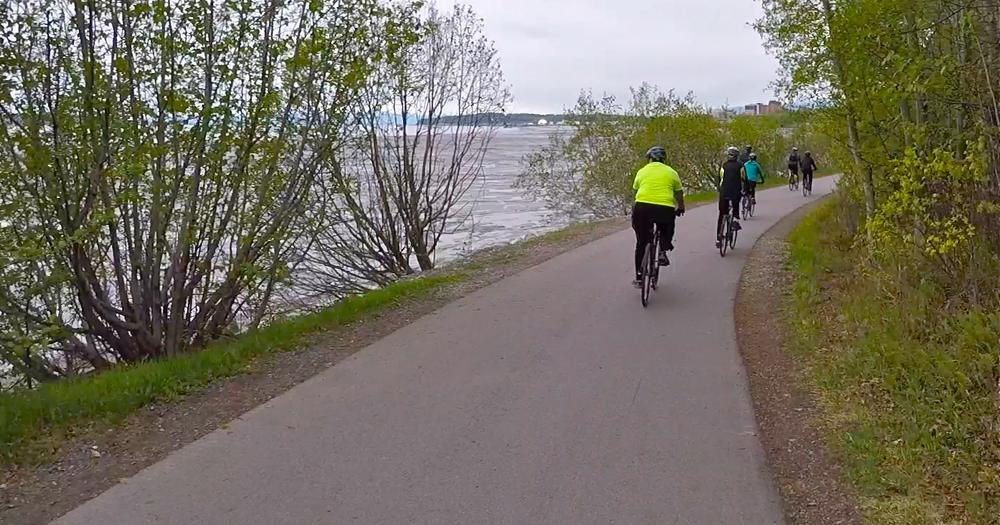 Biking Tony Knowles Coastal Trail with views