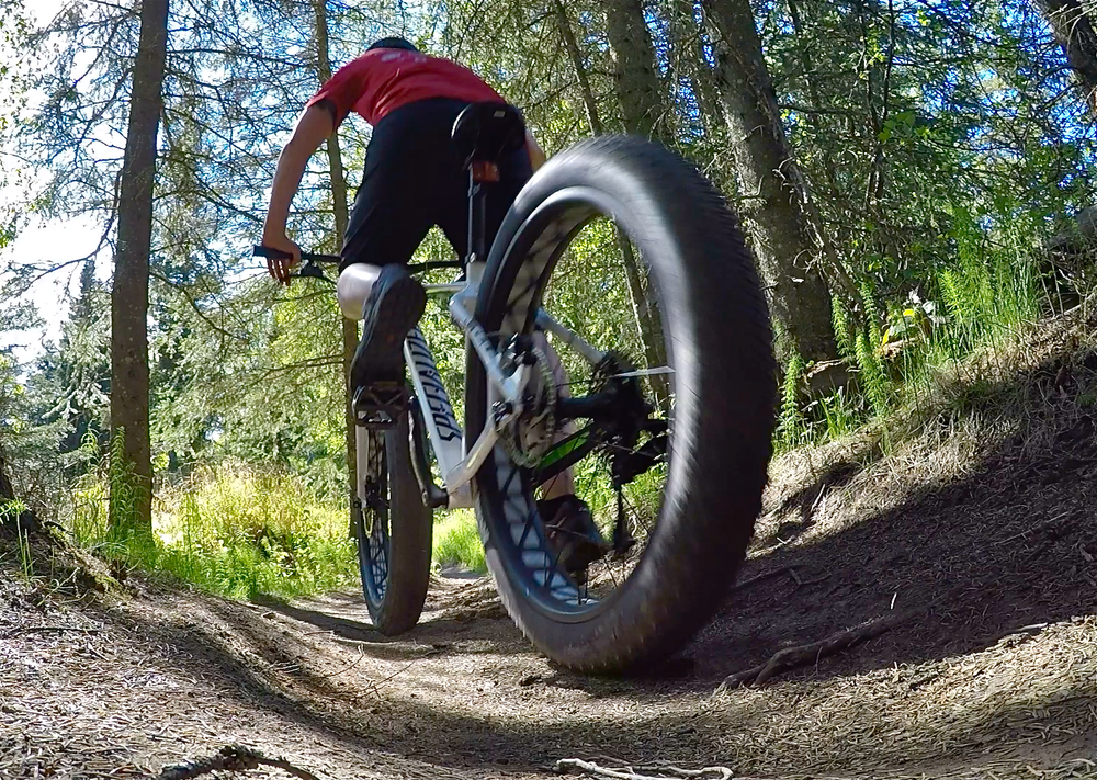 Fat tire bike tour on singlerack trails Kincaid Park