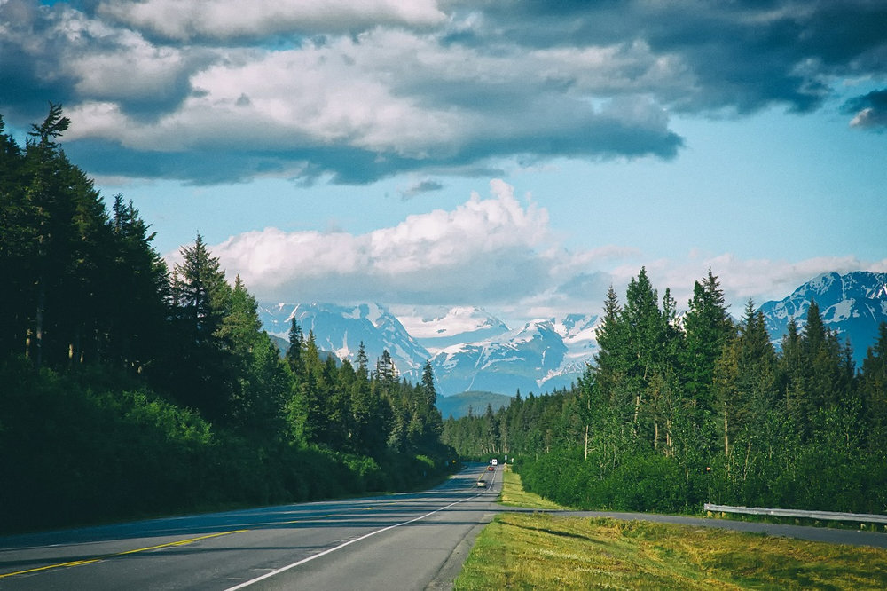 Alaska mountain view while biking
