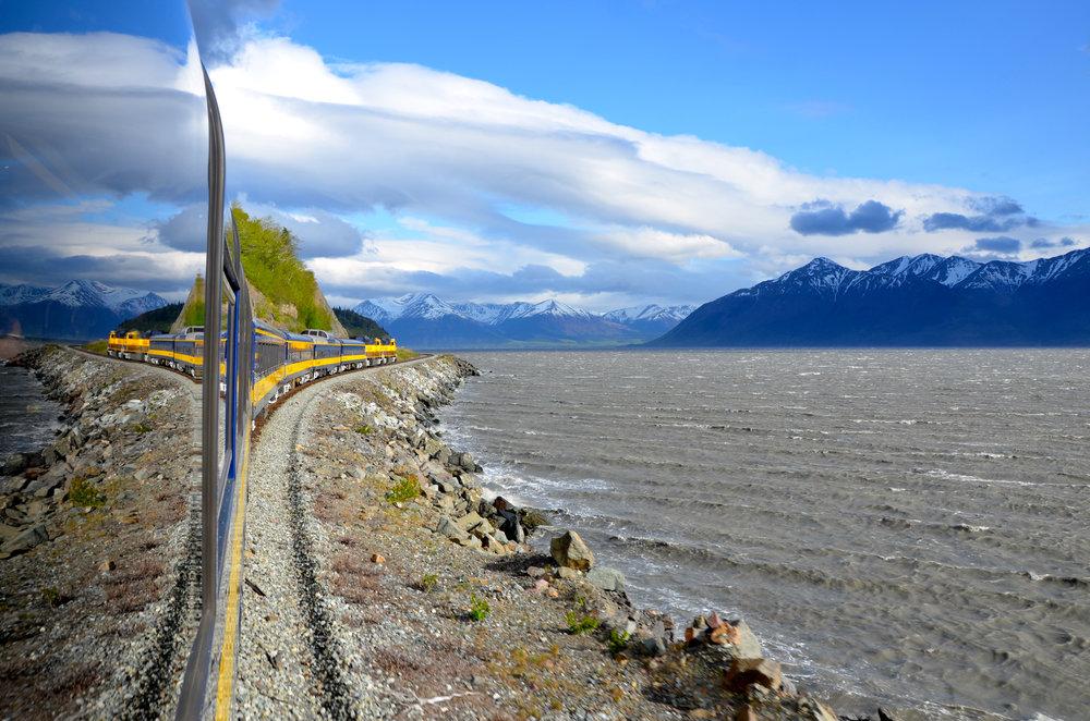 Riding Alaska Railroad in summer