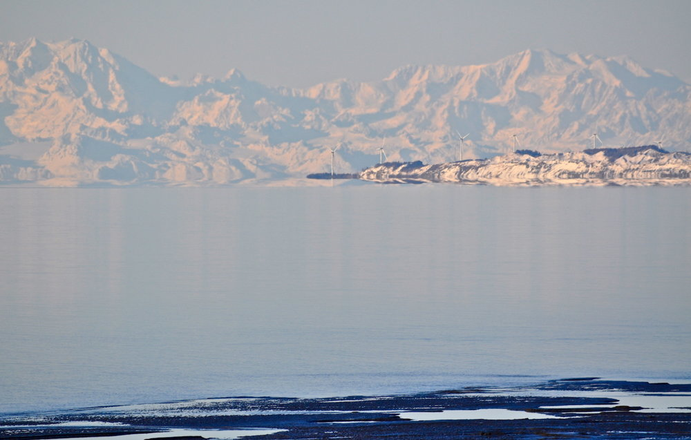 Mountain range view from Anchorage in winter