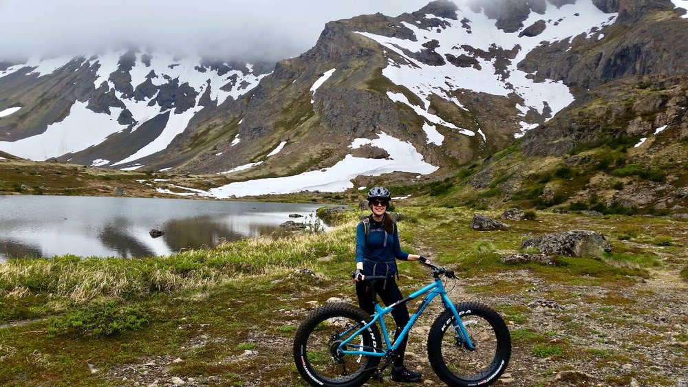 Fat tire mountain bike tour to lake on Powerline Pass in Chugach State Park