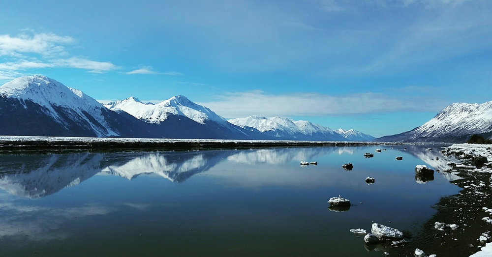 Winter mountain and water views Anchorage