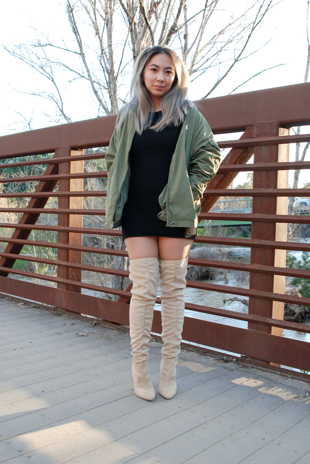 Cotton-Blend Windbreaker in Basic Olive (Men's Size M) - $145   Purchased from  Ralph Lauren  | In Stock   Cap Sleeve Knit Black Dress (One Size) - $30   Purchased from Brandy Melville USA | Out of Stock   Nude Faux Suede Pointed Toe Over the Knee Heeled Boots (Size 6) - $90*   Purchased from  Missguided  | In Stock, on sale for $45*