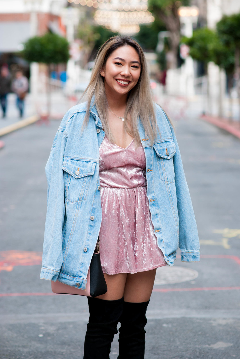 Oversized Light Wash Jean Jacket (One Size) - $40   Purchased from Brandy Melville USA | Out of Stock, check local stores, unavailable online   LA Hearts Crushed Velvet Romper in Pink (Size M) - $35.95   Purchased at  PacSun  | Out of Stock in Pink   LARAH: Knee High Black Dress Boots with Pointy Toes (Size 6 and 1/2) - $129.95*   Purchased at  Steve Madden  | In Stock, on sale for $50*