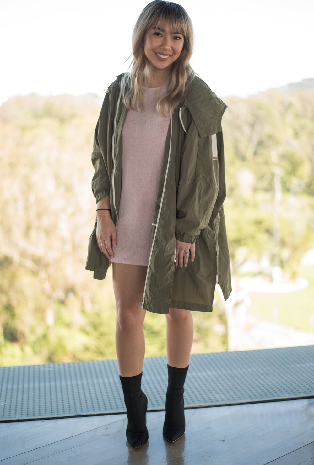 Oversized Flowing Parka in Olive Green (Size XS-S) -$69.90   Purchased from  ZARA  | Currently In Stock   Sweater with Back Bows in Pink (Size M) - $39.90   Purchased from  ZARA  | Currently in Stock   Suede Effect Dress in Mid-Pink (Size S) - $35.90   Purchased from  ZARA  | Currently in Stock   GAZE: Black Booties** (Size 6) - $99.95   Purchased from  Steve Madden  | Not exact pair; similar