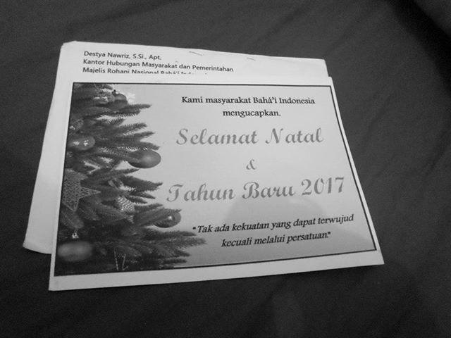 Terimakasih kepada masyarakat Baha'i Indonesia yang kembali mengirimkan kami kartu Natal. Semoga hubungan baik ini tetap terjalin erat. #Bahai #Youth #Interfaith #Indonesia #Peace #Harmony #Xmas #Natal #Damai