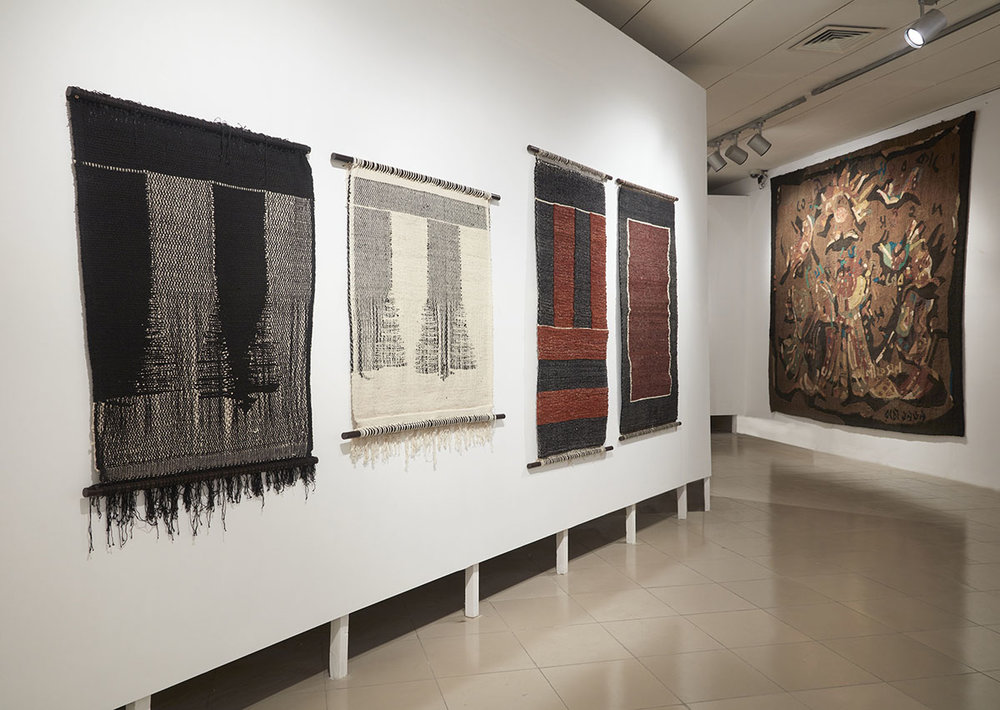 Installation view, works by Monika Correa (left). Courtesy of the artist and Jhaveri Contemporary, Mumbai and Rashid Choudhury (right). Courtesy of the Bangladesh National Museum, Dhaka. Photo courtesy of the Dhaka Art Summit and Samdani Art Foundation. Photo credit: Jenni Carter