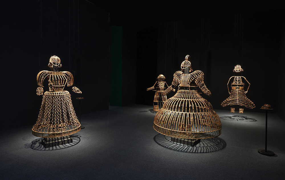 Shakuntala Kulkarni, Of Bodies, Armour and Cages, 2012 - 2015. Courtesy of the artist and Chemould Prescott Road, Mumbai. Photo courtesy of the Dhaka Art Summit and Samdani Art Foundation. Photo credit: Jenni Carter