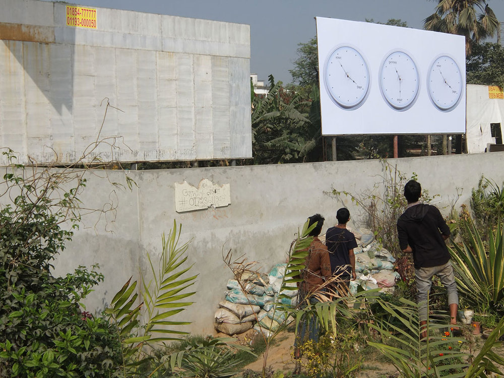 Raqs Media Collective,  Meanwhile Elsewhere , Public Art Project, 2014. Courtesy of the artists, the Dhaka Art Summit and the Samdani Art Foundation