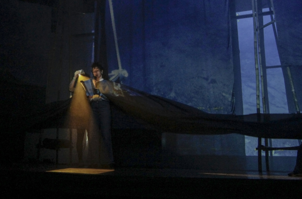 Stella Bottai reading her underwater speech within a backdrop by George Henry Longly (performance still)