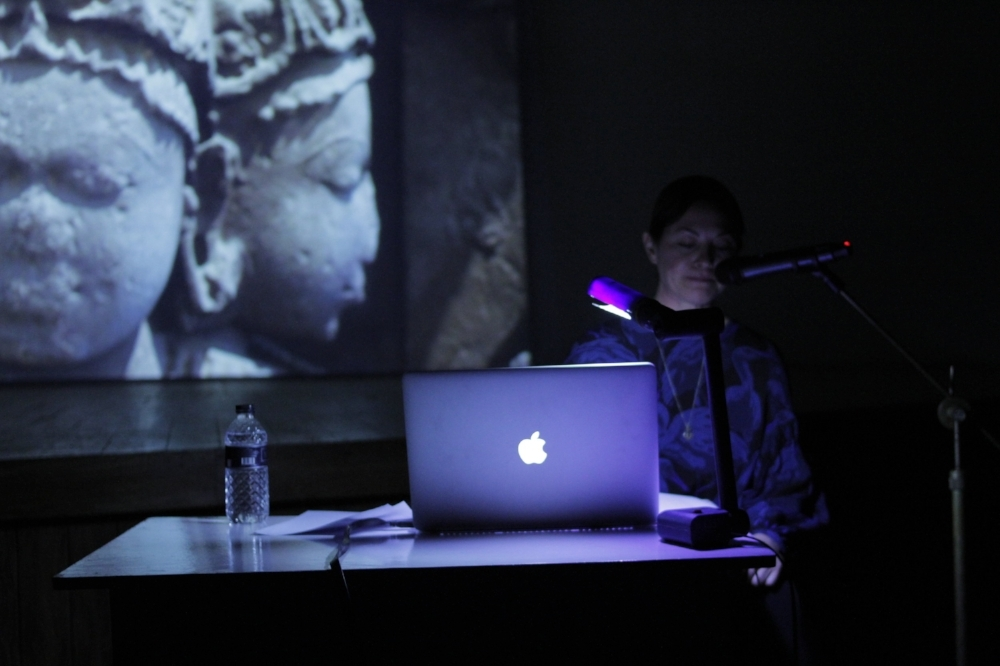 Lucy Raven presenting her illustrated lecture, 'Low Relief'