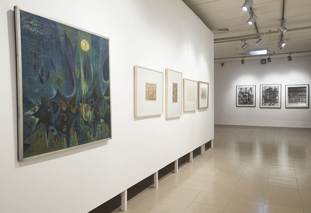 Installation view, works by Safiuddin Ahmed. Courtesy of Ahmed Nazir Collection and Nalini Malani, courtesy of the artist. Photo courtesy of the Dhaka Art Summit and Samdani Art Foundation. Photo credit: Jenni Carter